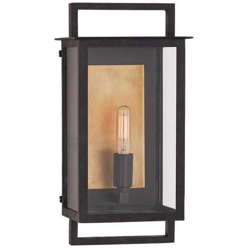 Halle Small Wall Lantern Aged Iron and Clear Glass