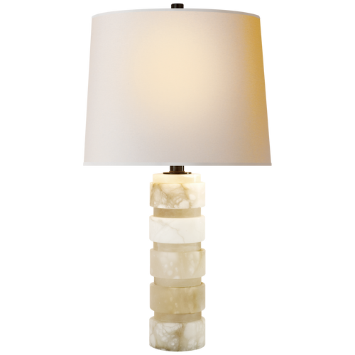 Round Chunky Stacked Table Lamp Alabaster