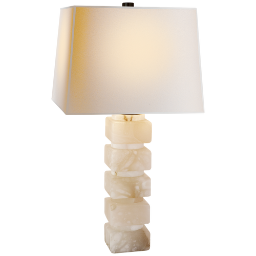 Square Chunky Stacked Table Lamp Alabaster