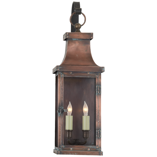 Bedford Medium Scroll Arm Lantern Natural Copper