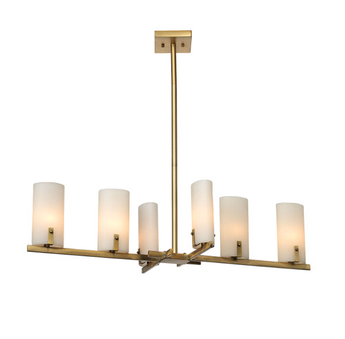 Geneva Chandelier in Antique Brass w/ White Resin Shades