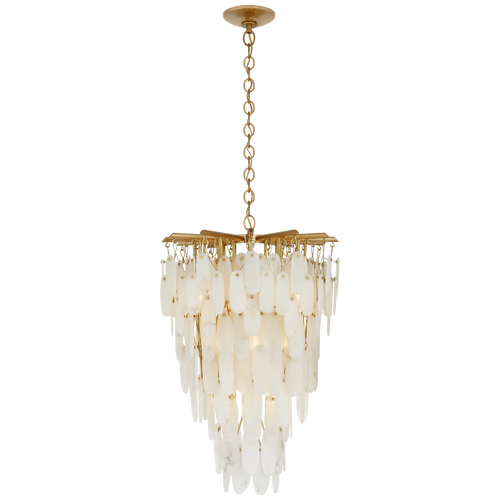 Tall Cascading Chandelier in Antique-Burnished Brass with Alabaster