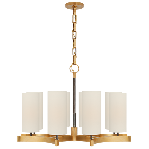 Bronze and Hand-Rubbed Antique Brass with Linen Shades