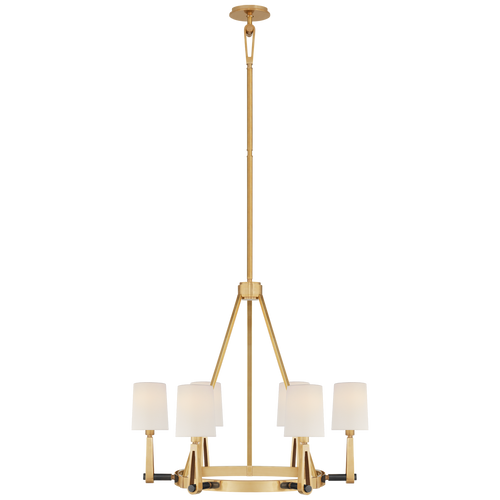 Hand-Rubbed Antique Brass and Bronze with Linen Shades