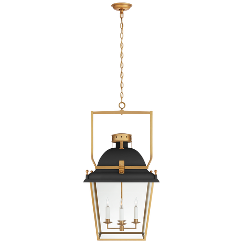 Matte Black and Antique-Burnished Brass with Clear Glass