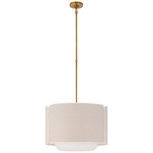 Soft Brass and Soft White Glass with Natural Linen with Cream Trimmed Shade