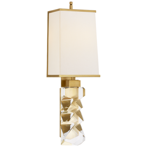 Crystal and Hand-Rubbed Antique Brass with Linen Shade with Brass Trimmed Shade