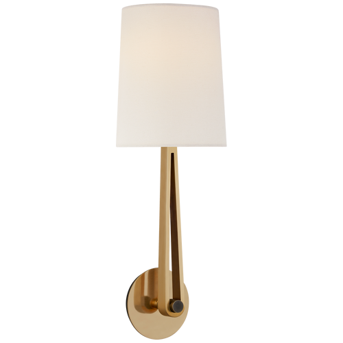 Hand-Rubbed Antique Brass and Bronze with Linen Shade