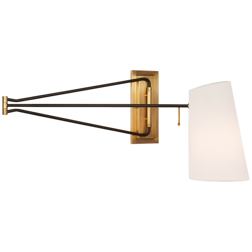 Hand-Rubbed Antique Brass and Black with Linen Shade