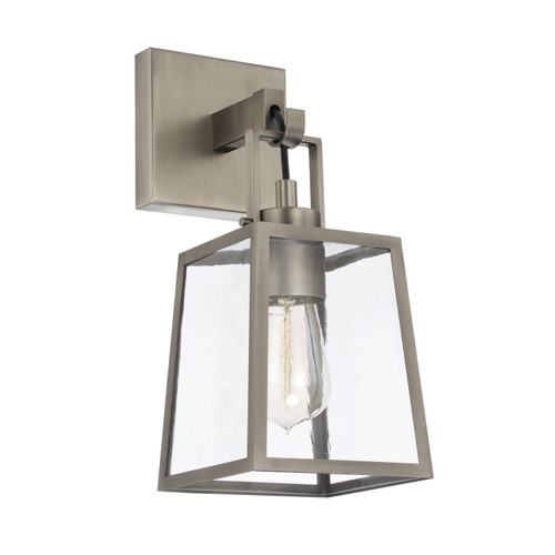 Kenner 1-Light Sconce in Antique Nickel with Clear Rain glass