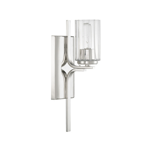 Manhattan 1-Light Sconce in Polished Nickel with Clear Beveled glass