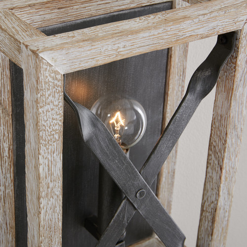 Remi 1-Light Sconce in Brushed White Wash and Nordic Iron