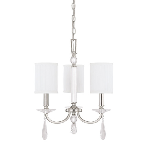 Alisa 3-Light Chandelier in Polished Nickel with crystal adornments