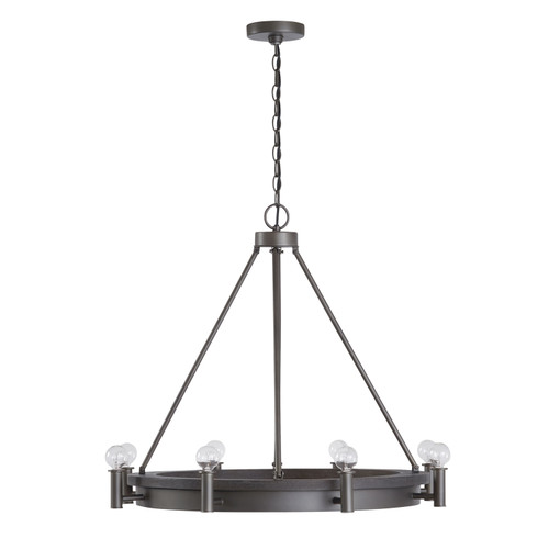 Ashton  8-Light Chandelier in Carbon Grey & Grey Iron with white fabric shade and diffuser