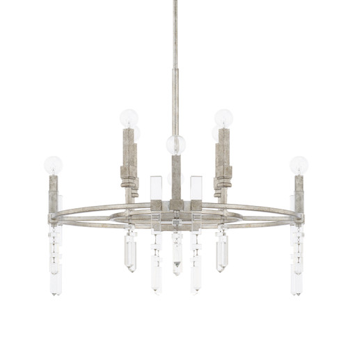 Drake 8-Light Chandelier in Antique Silver with crystal adornments