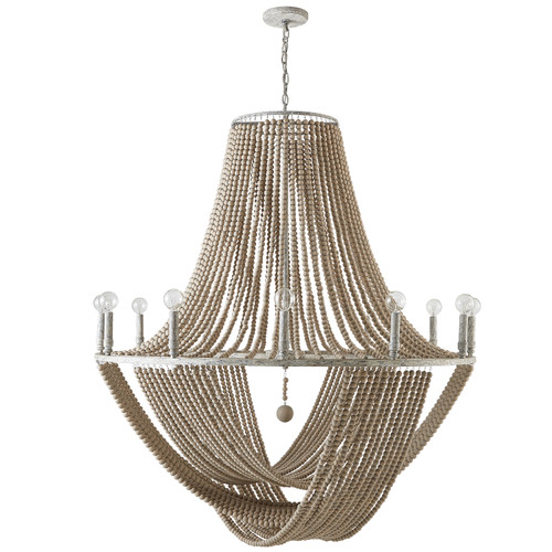 Kayla 12-Light Chandelier in Mystic Sand with wood bead adornments