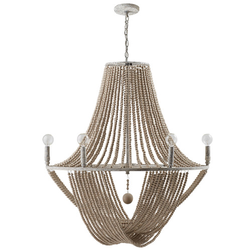 Kayla 6-Light Chandelier in Mystic Sand with wood bead adornments