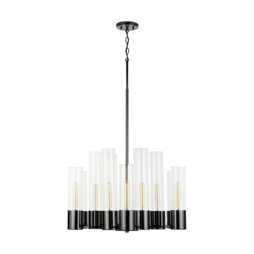 Logan 12-Light Chandelier in Black Chrome with Clear glass