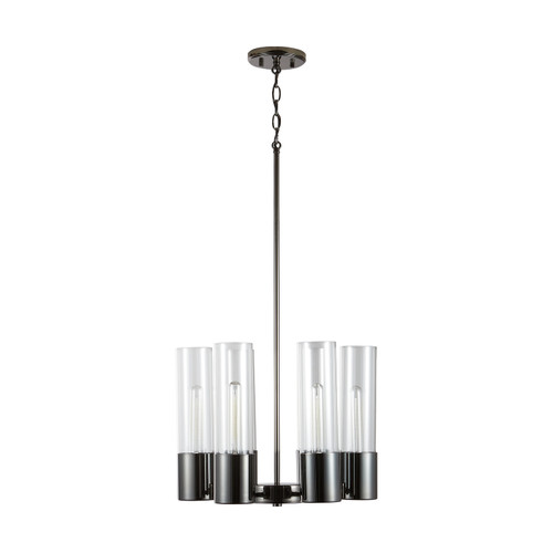 Logan 6-Light Chandelier in Black Chrome with Clear glass