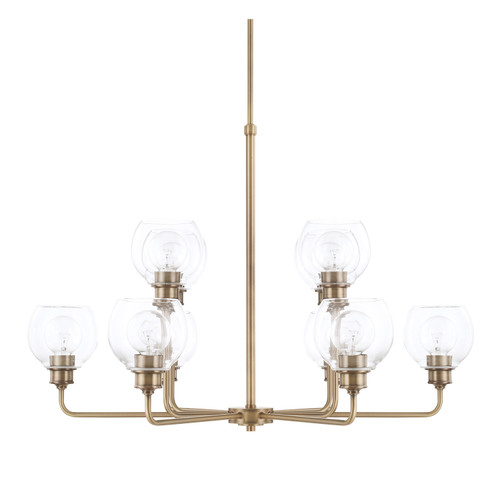 Mid-Century 10-Light Chandelier in Aged Brass with Clear glass