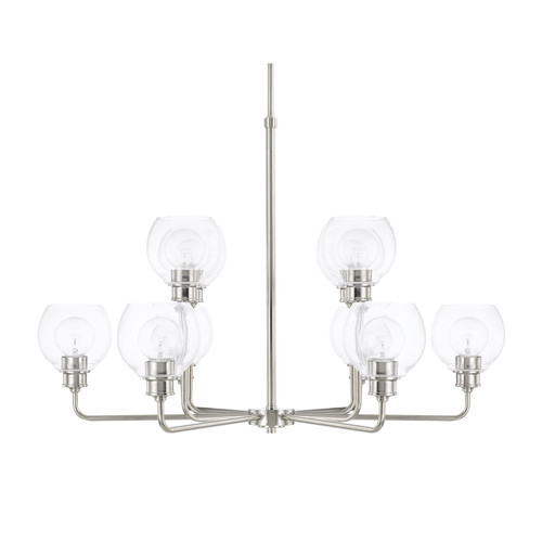 Mid-Century 10-Light Chandelier in Polished Nickel with Clear glass
