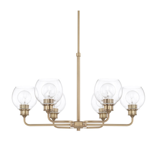 Mid-Century 6-Light Chandelier in Aged Brass with Clear glass