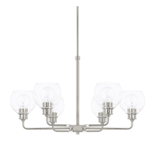 Mid-Century 6-Light Chandelier in Polished Nickel with Clear glass