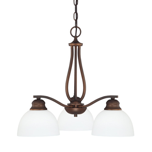 Stanton 3-Light Chandelier in Burnished Bronze with Soft White glass