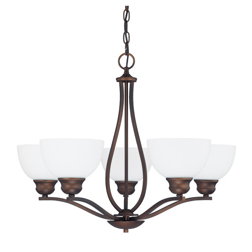 Stanton 5-Light Chandelier in Burnished Bronze with Soft White glass