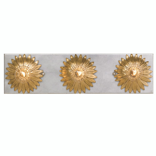 Crystorama Broche 3 Light Antique Gold & Antique Silver Bathroom Vanity
