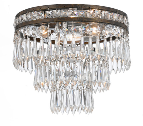 Crystorama Mercer 3 Light Clear Crystal Flush Mount