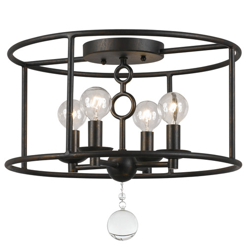 Crystorama Cameron 4 Light Bronze Semi-Flush