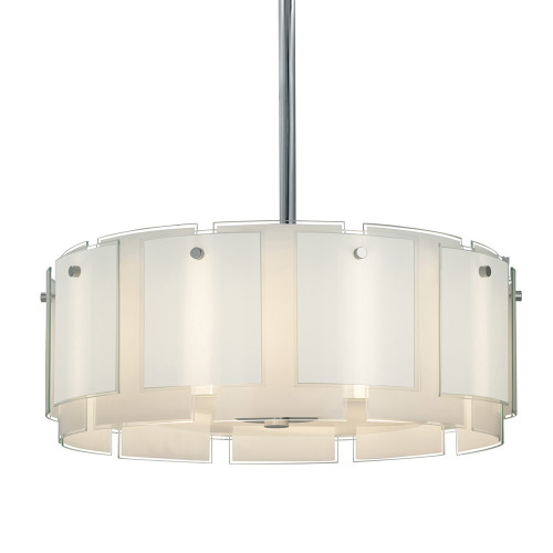 Shown in Polished Chrome with White with Clear Edge Glass Shade
