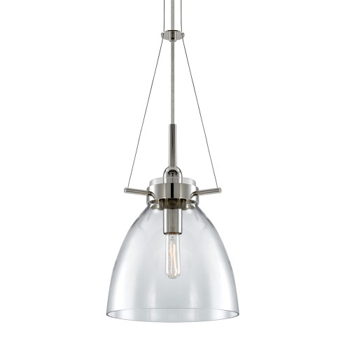 Shown in Polished Nickel with Glass Shade
