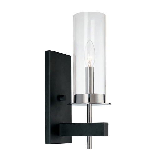 Shown in Polished Chrome and Black with Clear Glass Shade