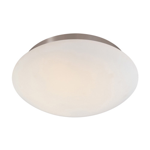 Shown in 12.5 inch Satin Nickel with White Etched Cased Glass Shade