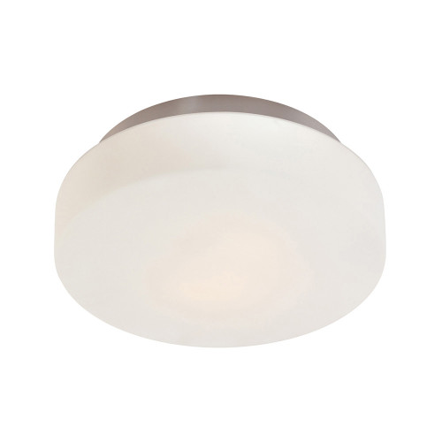 Shown in Satin Nickel with White Etched Cased Glass Shade