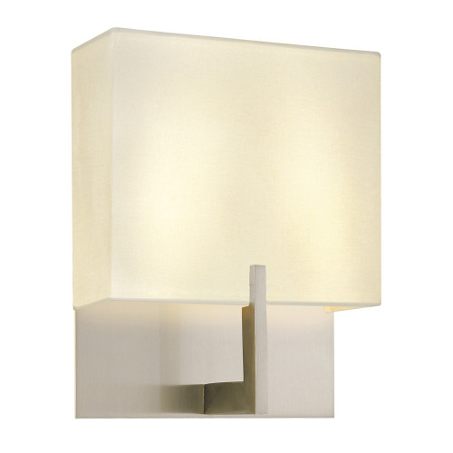 Shown in Small Satin Nickel with Off-White Linen Shade