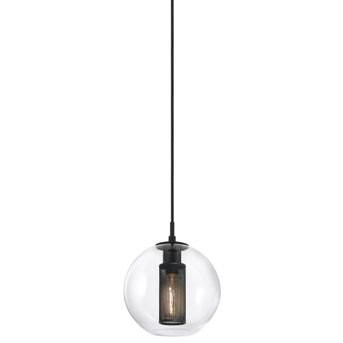 Shown in Small Textured Black with Clear Glass Shade