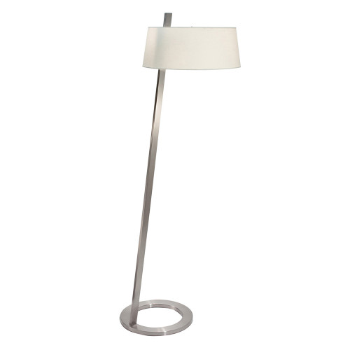 Shown in Satin Nickel with Off-White Linen Shade