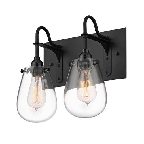Shown in Satin Black with Clear Glass Shade