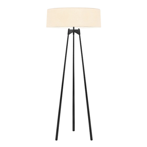 Shown in Satin Black with Off-White Linen Shade