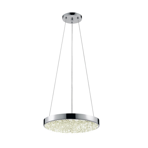 Shown in 12 inch Polished Chrome with Clear Crushed Glass Shade