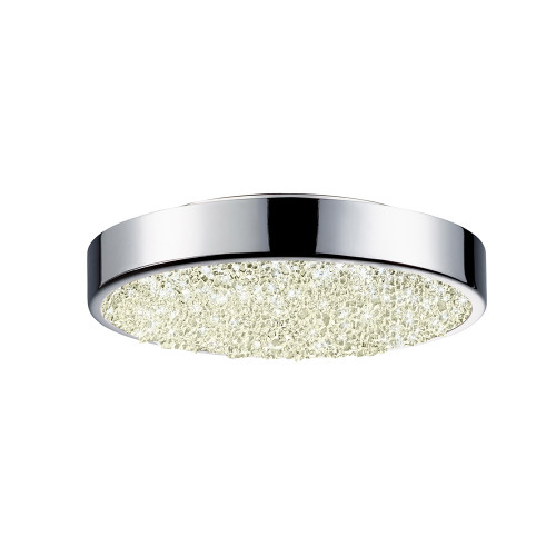 Shown in 8 inch Polished Chrome with Clear Crushed Glass Shade