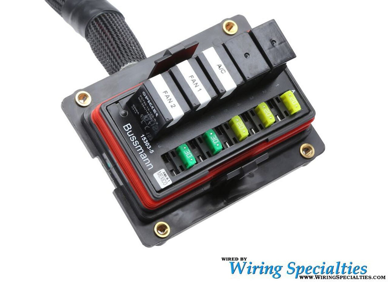 universal race bussmann interface with fused relays, flying leads ... bussmann wire diagram  wiring specialties