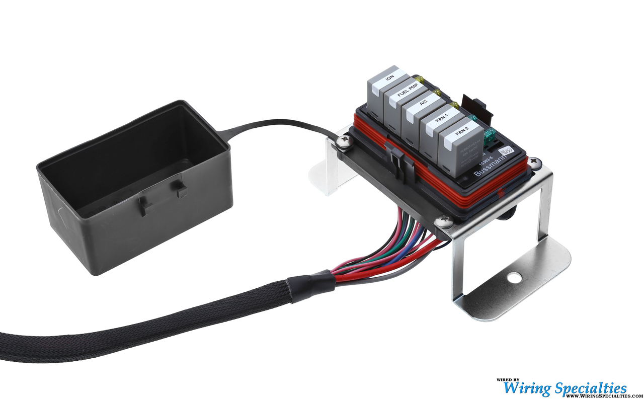 standalone harness fuse relay box universal race bussmann interface with fused relays  flying leads  universal race bussmann interface with