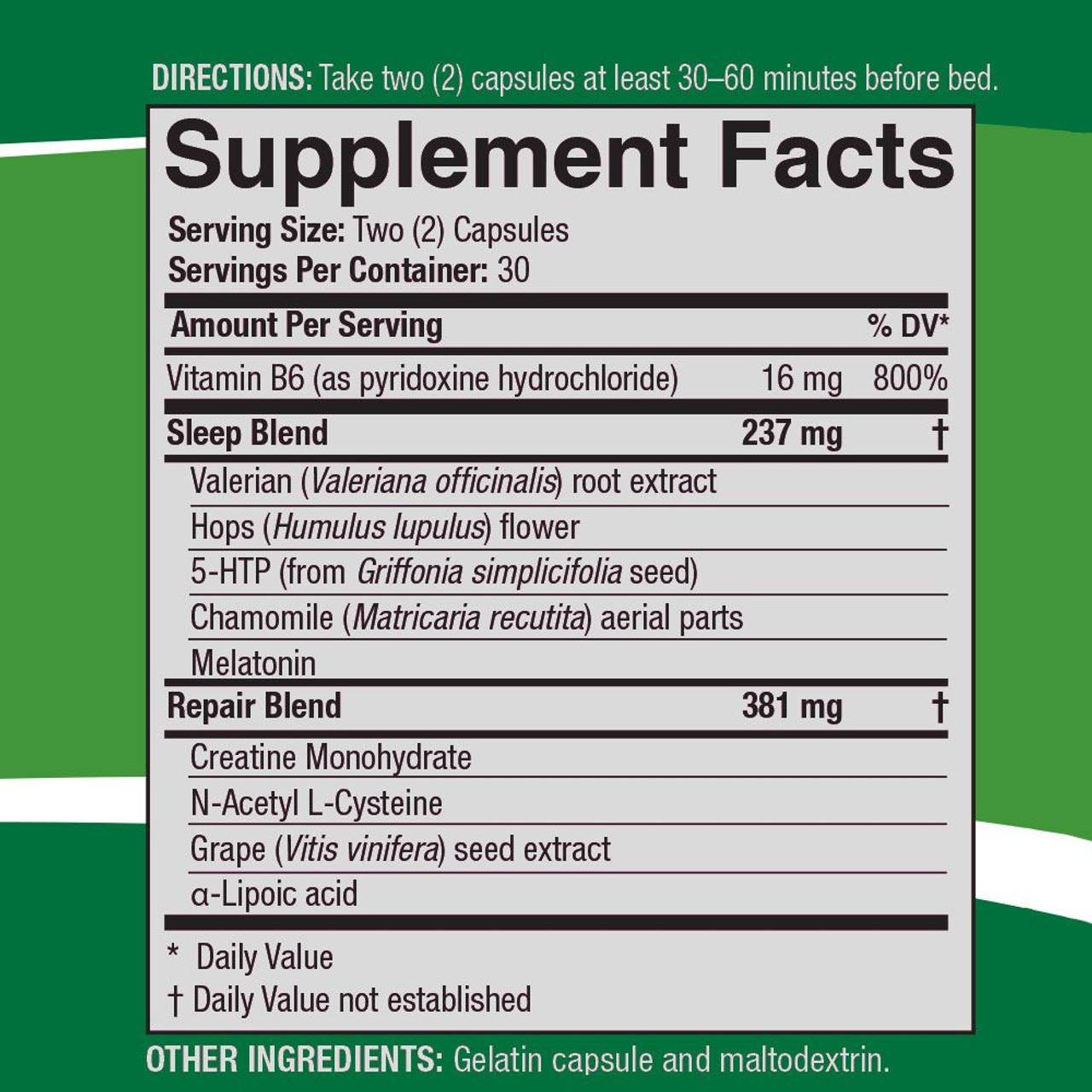 SleepRite AMJ Supplemental Facts