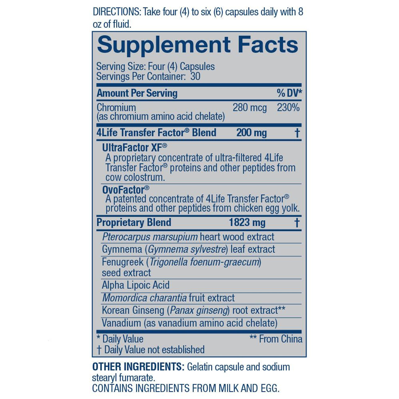 Transfer Factor Glucoach Supplemental Facts