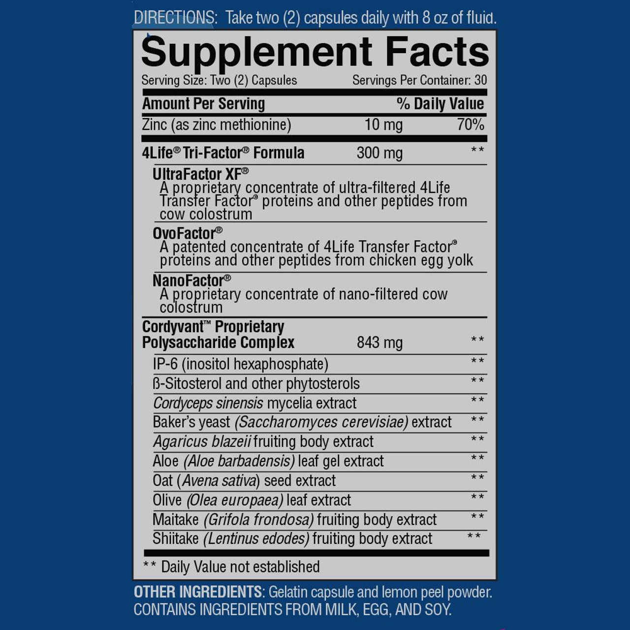 Supplemental Facts Transfer Factor Plus Tri-Factor by 4Life