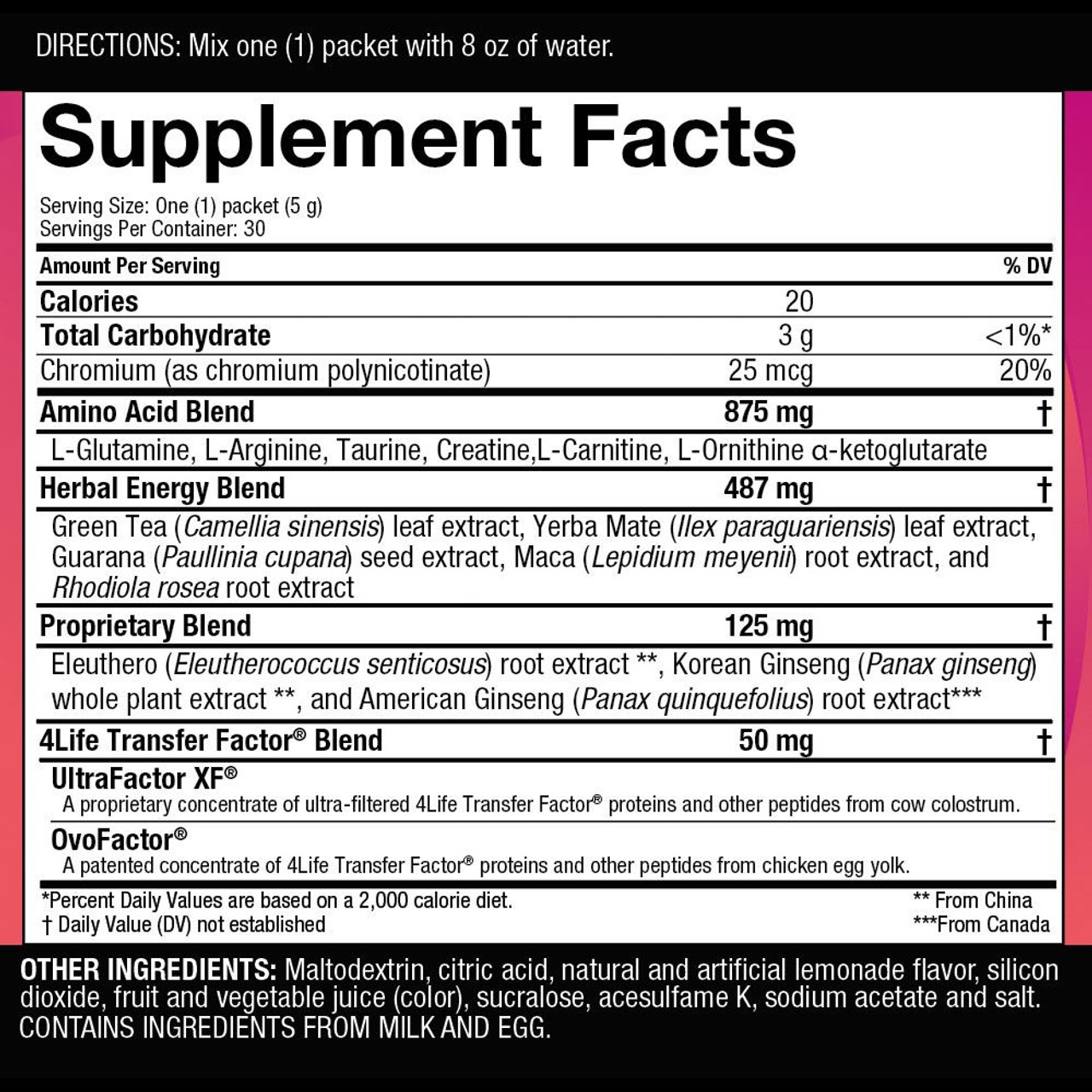 Energy by 4Life Pink Lemonade Supplemental Facts